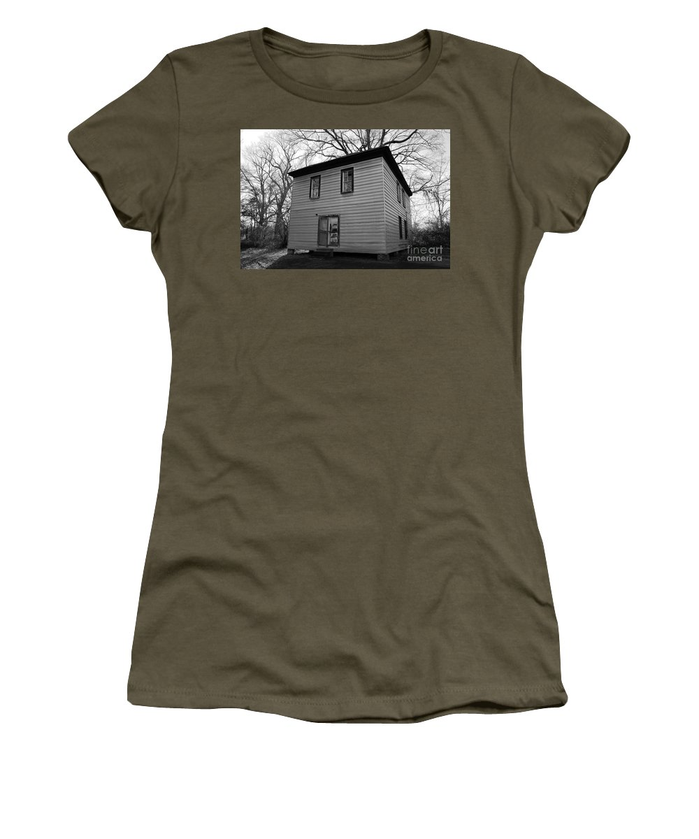 old Buildings Women's T-Shirt featuring the photograph Locked And Open Partially Broken by Amanda Barcon