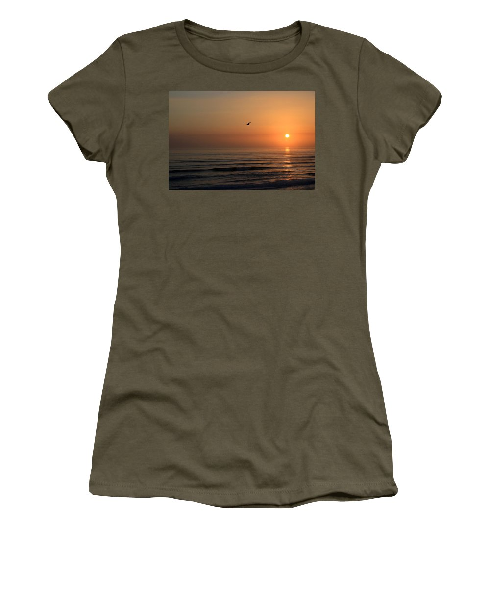 Bird Fly Flight Gull Alone Sun Sunrise Sky Ocean Wave Reflection Nature Golden Gold Women's T-Shirt (Athletic Fit) featuring the photograph Lonely Flight by Andrei Shliakhau