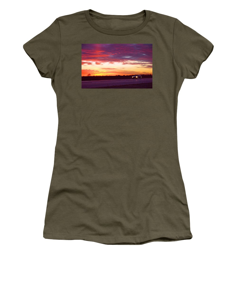 Landscape Women's T-Shirt (Athletic Fit) featuring the photograph Lonesome Highway by Steve Karol