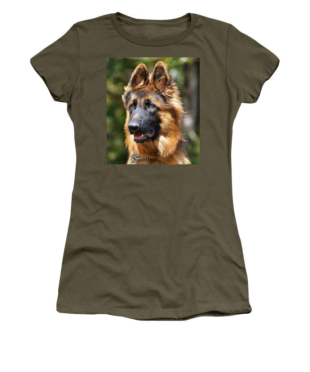 German Shepherd Women's T-Shirt (Athletic Fit) featuring the photograph Long Coated German Shepherd Dog by Sandy Keeton