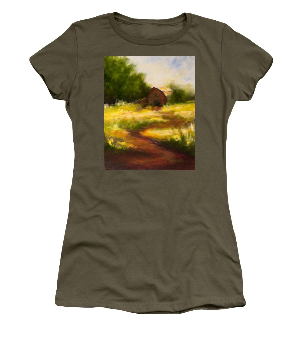 Landscape Women's T-Shirt (Athletic Fit) featuring the painting Long Road Home by Shannon Grissom