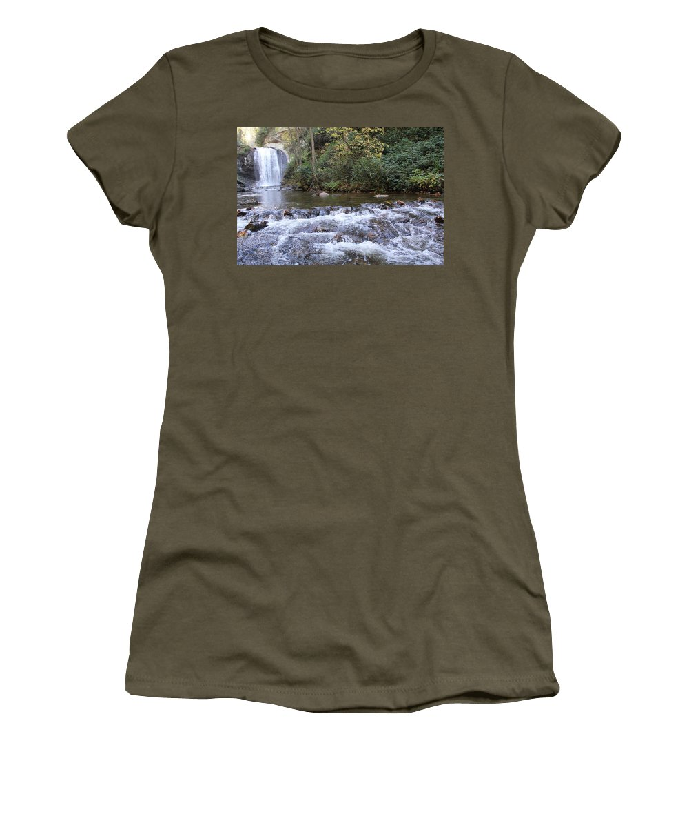 Waterfalls Women's T-Shirt featuring the photograph Looking Glass Falls Downstream by Allen Nice-Webb