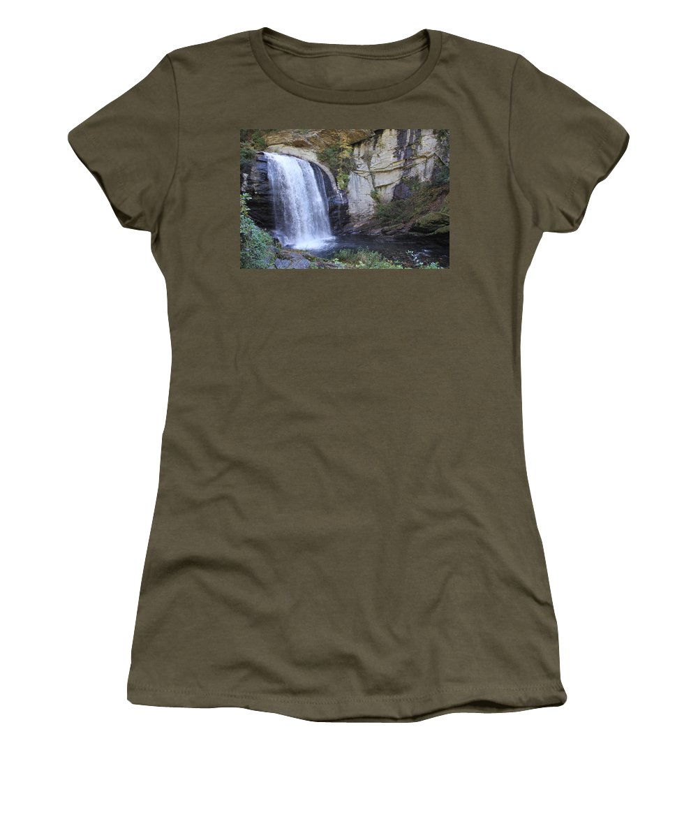 Waterfalls Women's T-Shirt featuring the photograph Looking Glass Falls Side View by Allen Nice-Webb