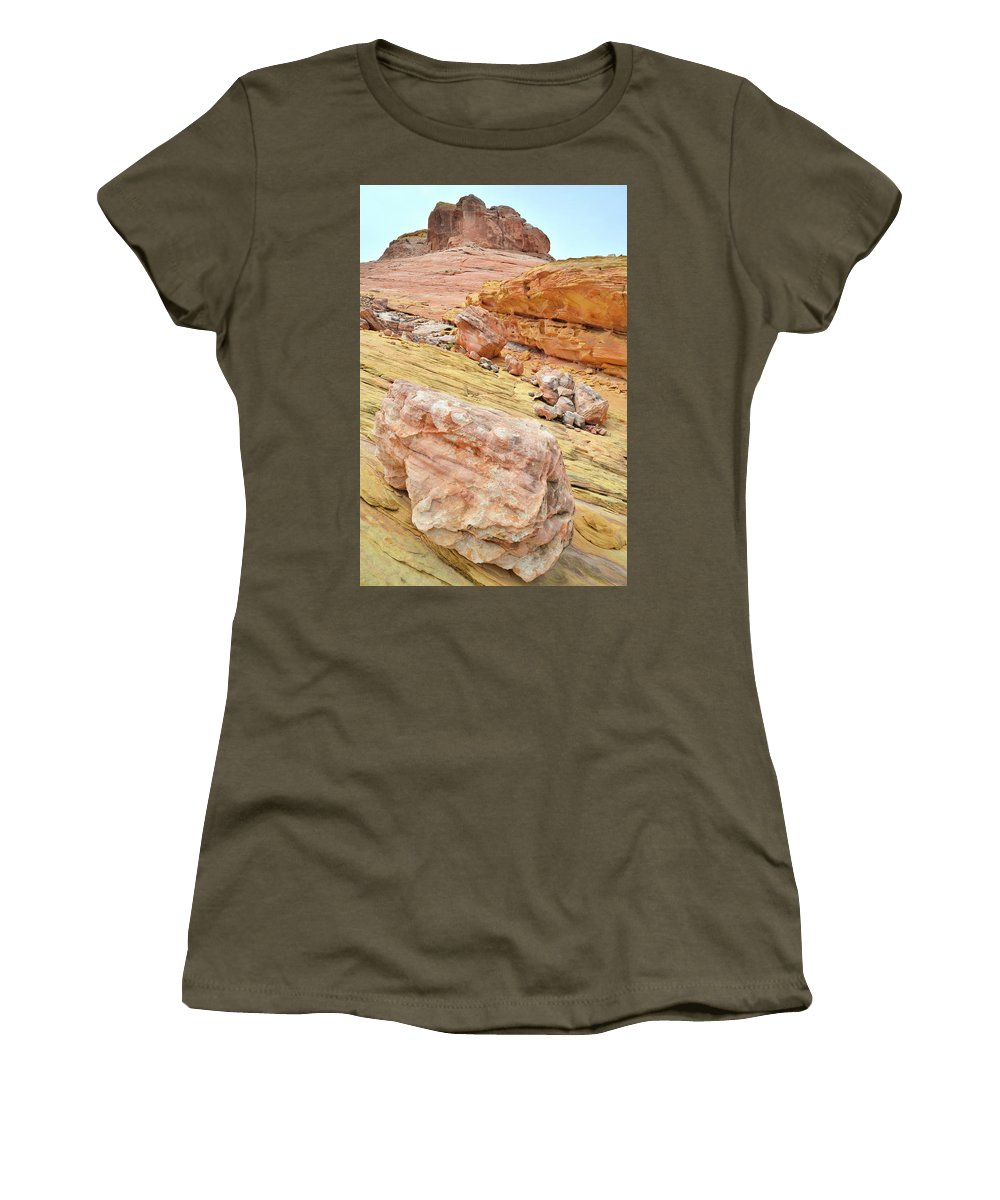 Valley Of Fire State Park Women's T-Shirt featuring the photograph Looking Skyward From Wash 3 In Valley Of Fire by Ray Mathis