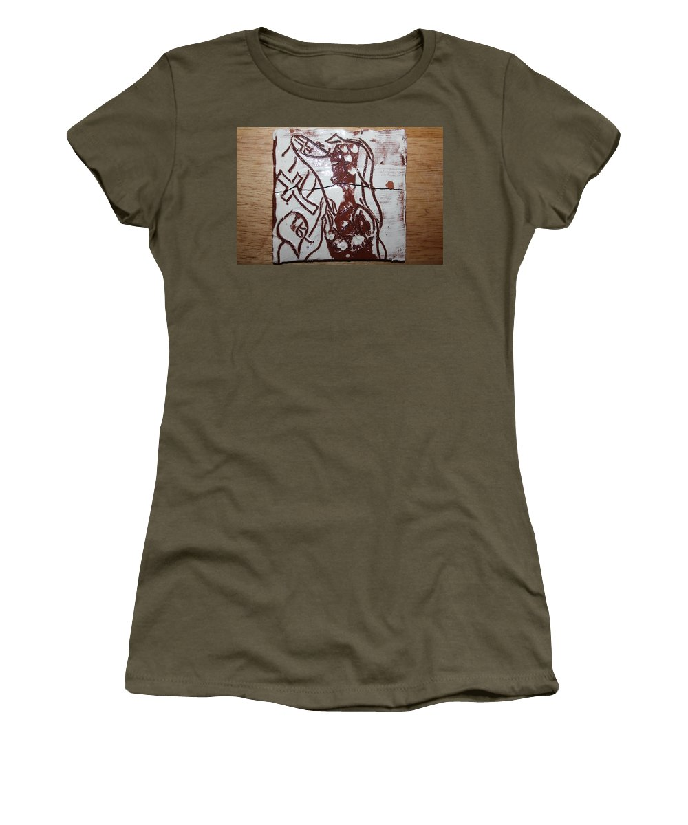 Mamamama Africa Twojesus Women's T-Shirt (Athletic Fit) featuring the ceramic art Lord Bless Me 12 - Tile by Gloria Ssali