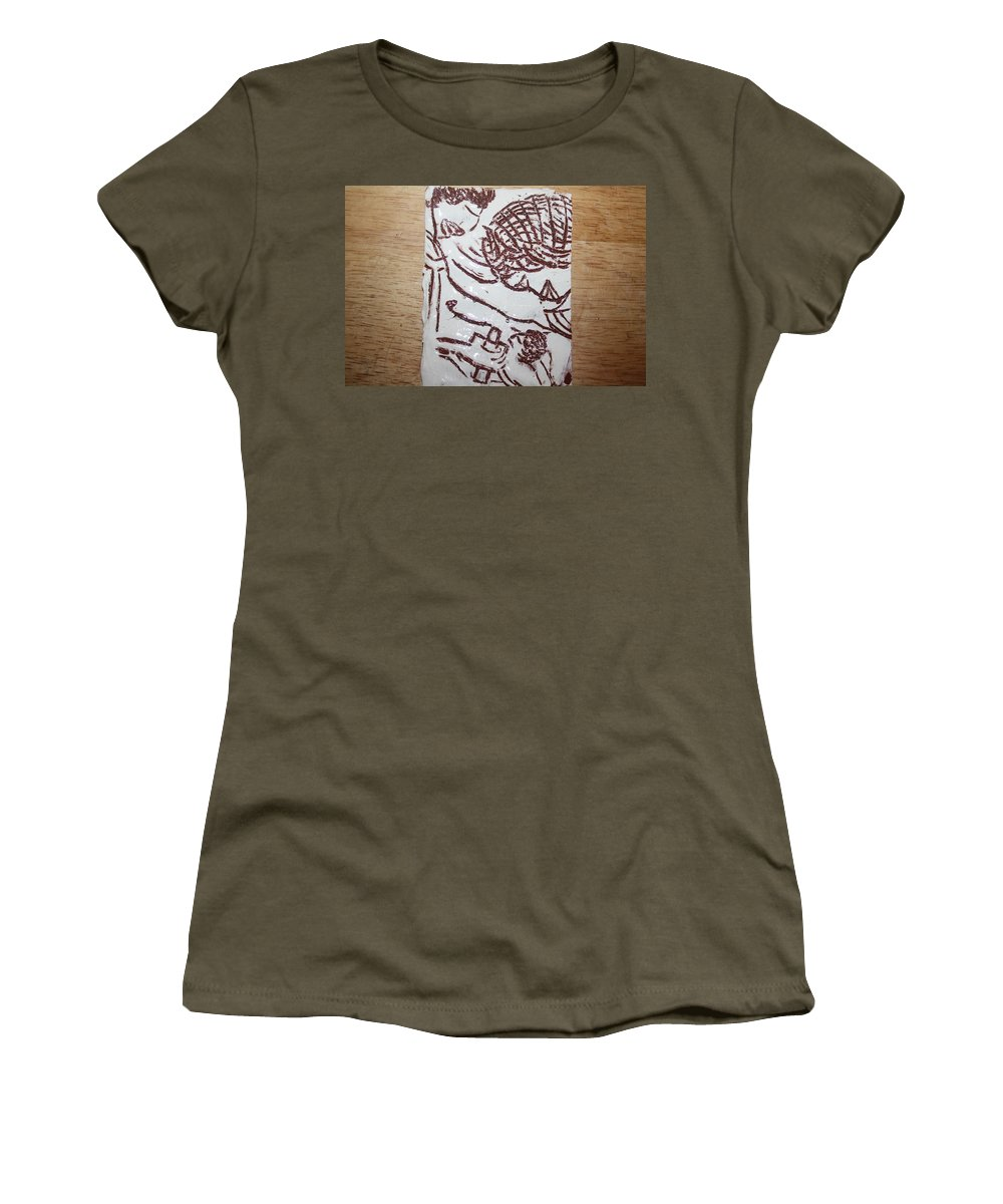 Mamamama Africa Twojesus Women's T-Shirt (Athletic Fit) featuring the ceramic art Lord Bless Me 22 - Tile by Gloria Ssali
