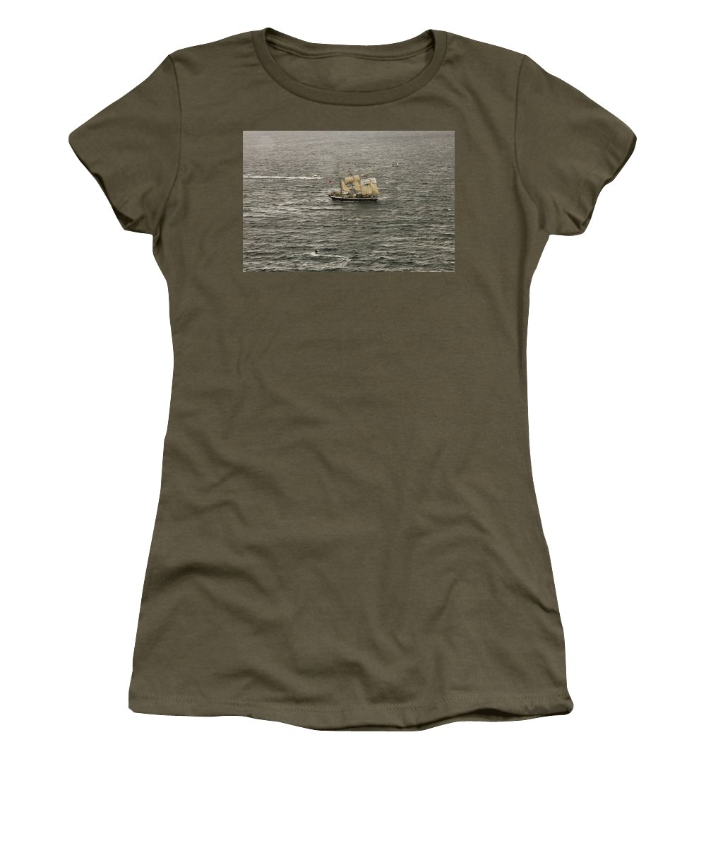 Lord Nelson Women's T-Shirt (Athletic Fit) featuring the photograph Lord Nelson Enters Sydney Harbour by Miroslava Jurcik