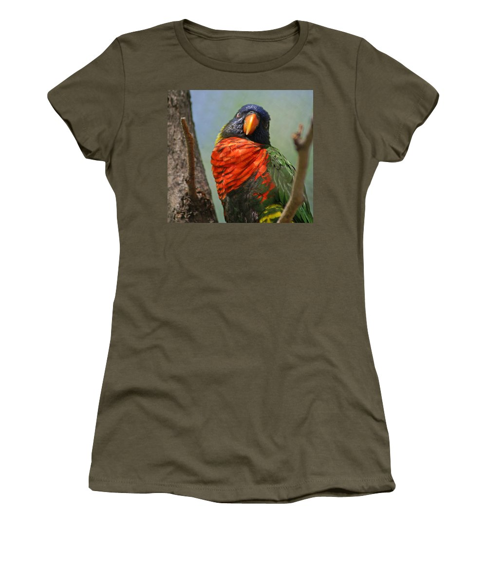 Bird Women's T-Shirt (Athletic Fit) featuring the photograph Lorikeet by Heather Coen