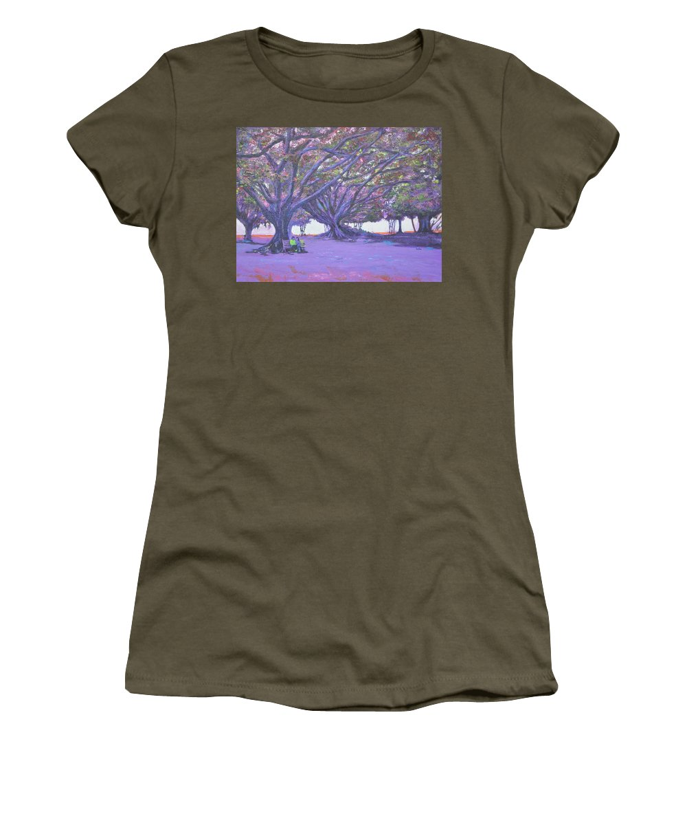 Love In Lal Bagh Women's T-Shirt featuring the painting Love In Lal Bagh 4 by Usha Shantharam