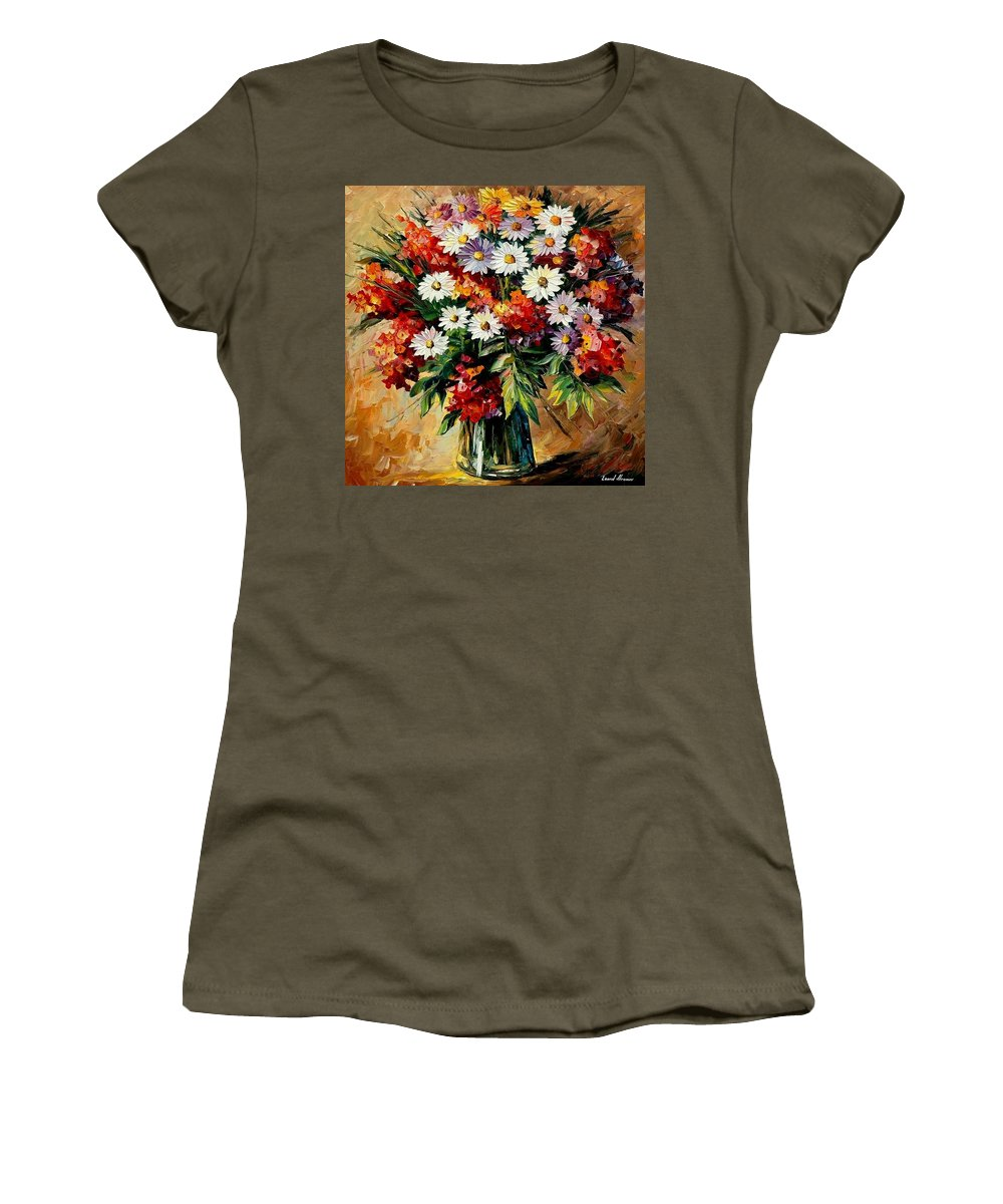 Still Life Women's T-Shirt (Athletic Fit) featuring the painting Lovely Bouquet by Leonid Afremov