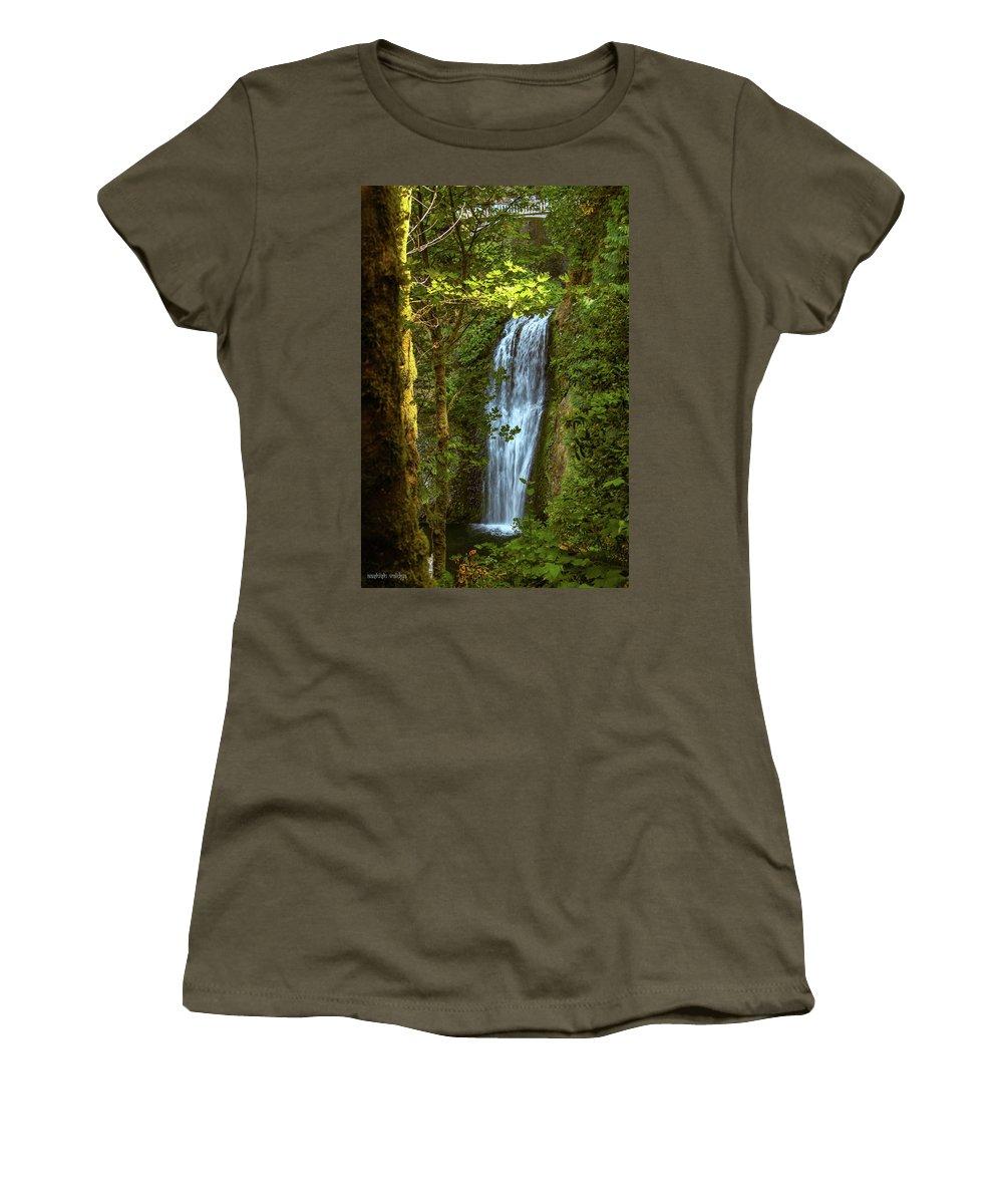 Waterfall Women's T-Shirt featuring the photograph Lower Multanomah Falls, Oregon by Aashish Vaidya