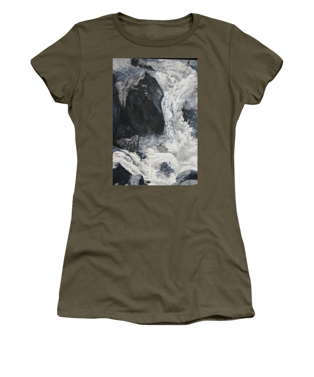 Water Women's T-Shirt (Athletic Fit) featuring the painting Lower Vernal Black And White by Travis Day