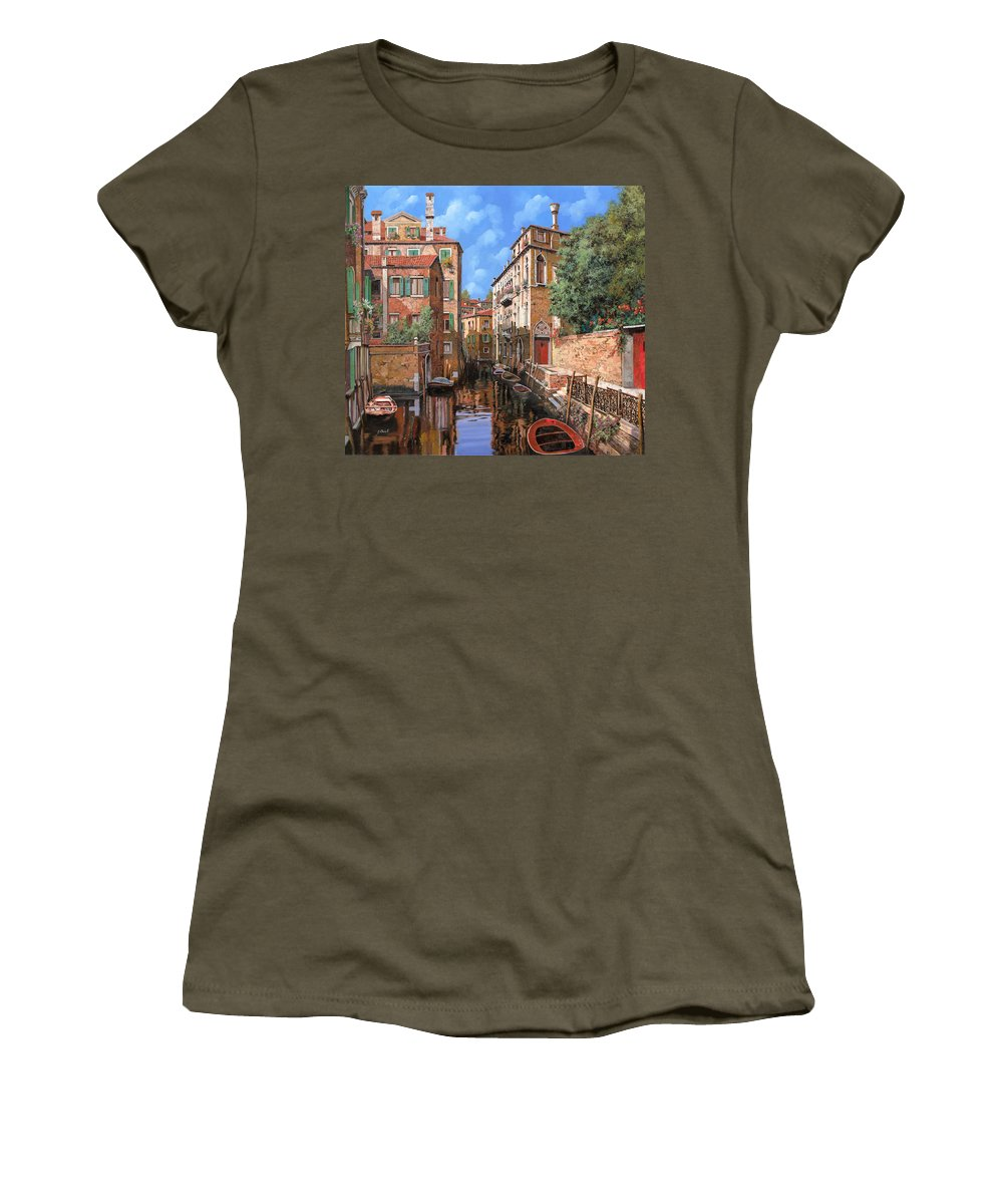 Venice Women's T-Shirt (Athletic Fit) featuring the painting Luci A Venezia by Guido Borelli