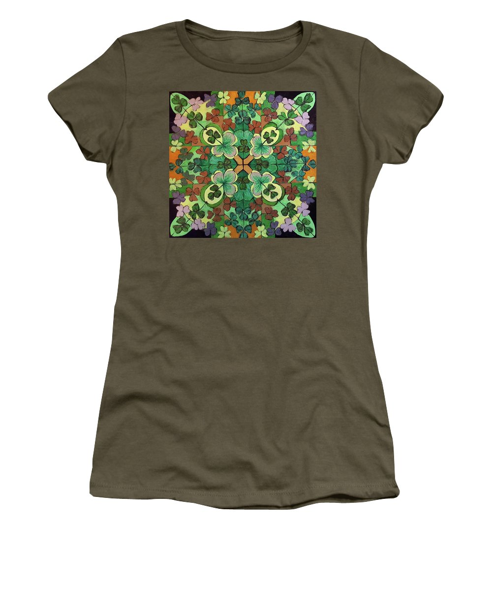 Luck Women's T-Shirt (Athletic Fit) featuring the drawing Lucky Day Mandala by Ethel Mann