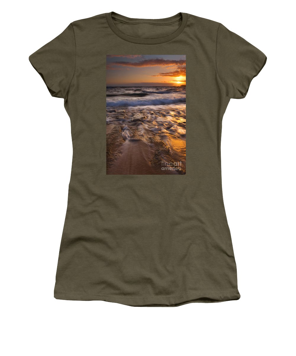 Lumaha'i Beach Women's T-Shirt (Athletic Fit) featuring the photograph Lumaha'i Dawn by Mike Dawson