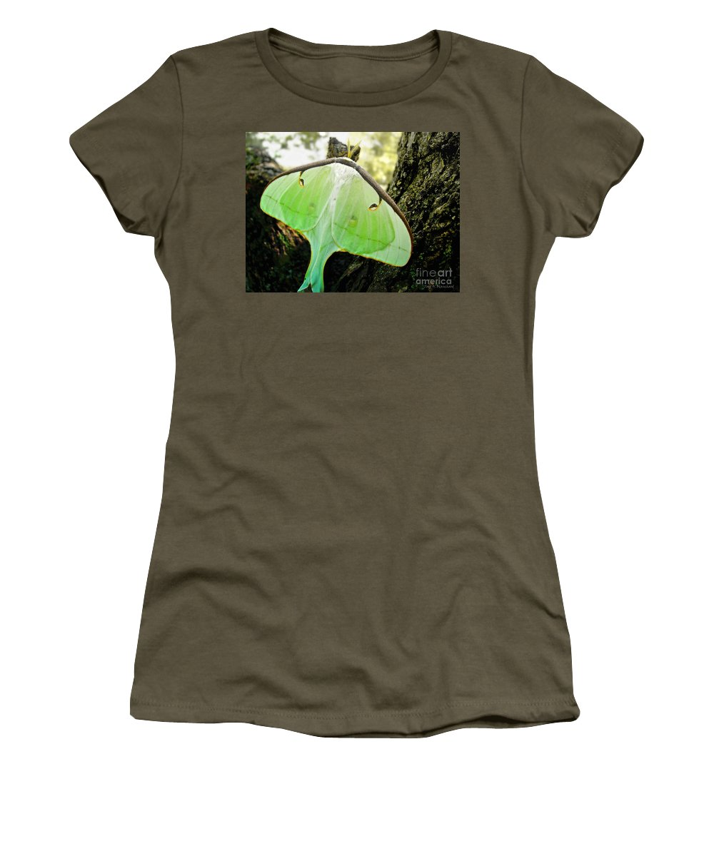 Macro Women's T-Shirt (Athletic Fit) featuring the photograph Luna Moth No. 3 by Todd A Blanchard