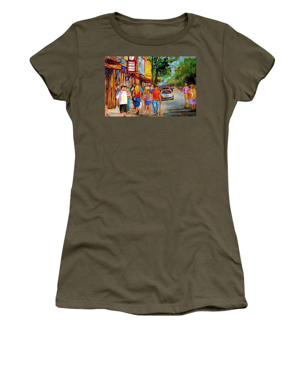 Montreal Streetscenes Women's T-Shirt (Athletic Fit) featuring the painting Lunchtime On Mainstreet by Carole Spandau