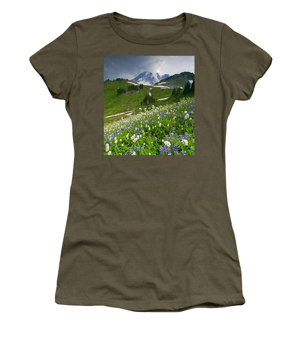 Rainier Women's T-Shirt (Athletic Fit) featuring the photograph Lupine Storm by Mike Dawson