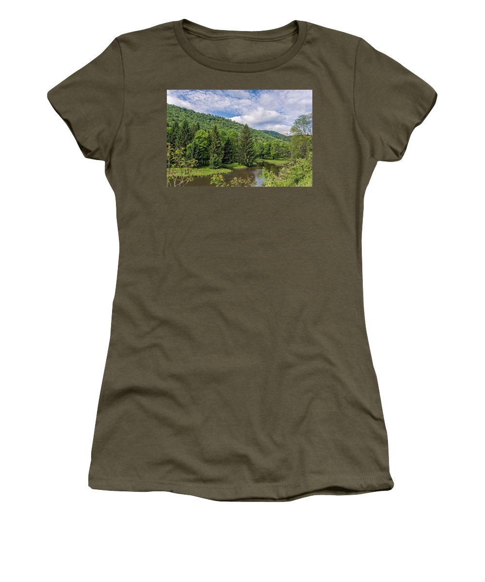 Clouds Women's T-Shirt featuring the photograph Lyman Run State Park by Guy Whiteley