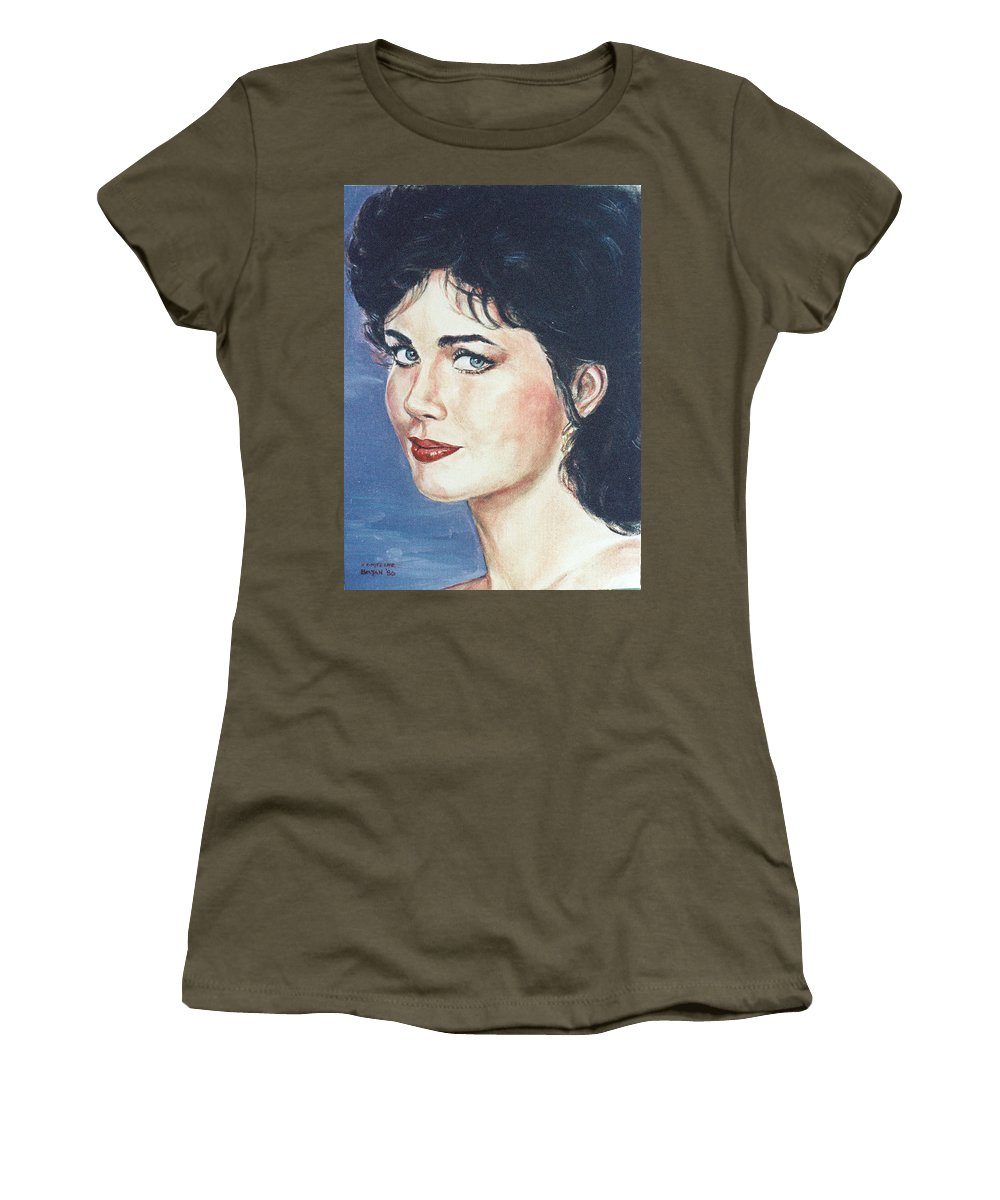 Lynda Carter Women's T-Shirt featuring the painting Lynda Carter by Bryan Bustard