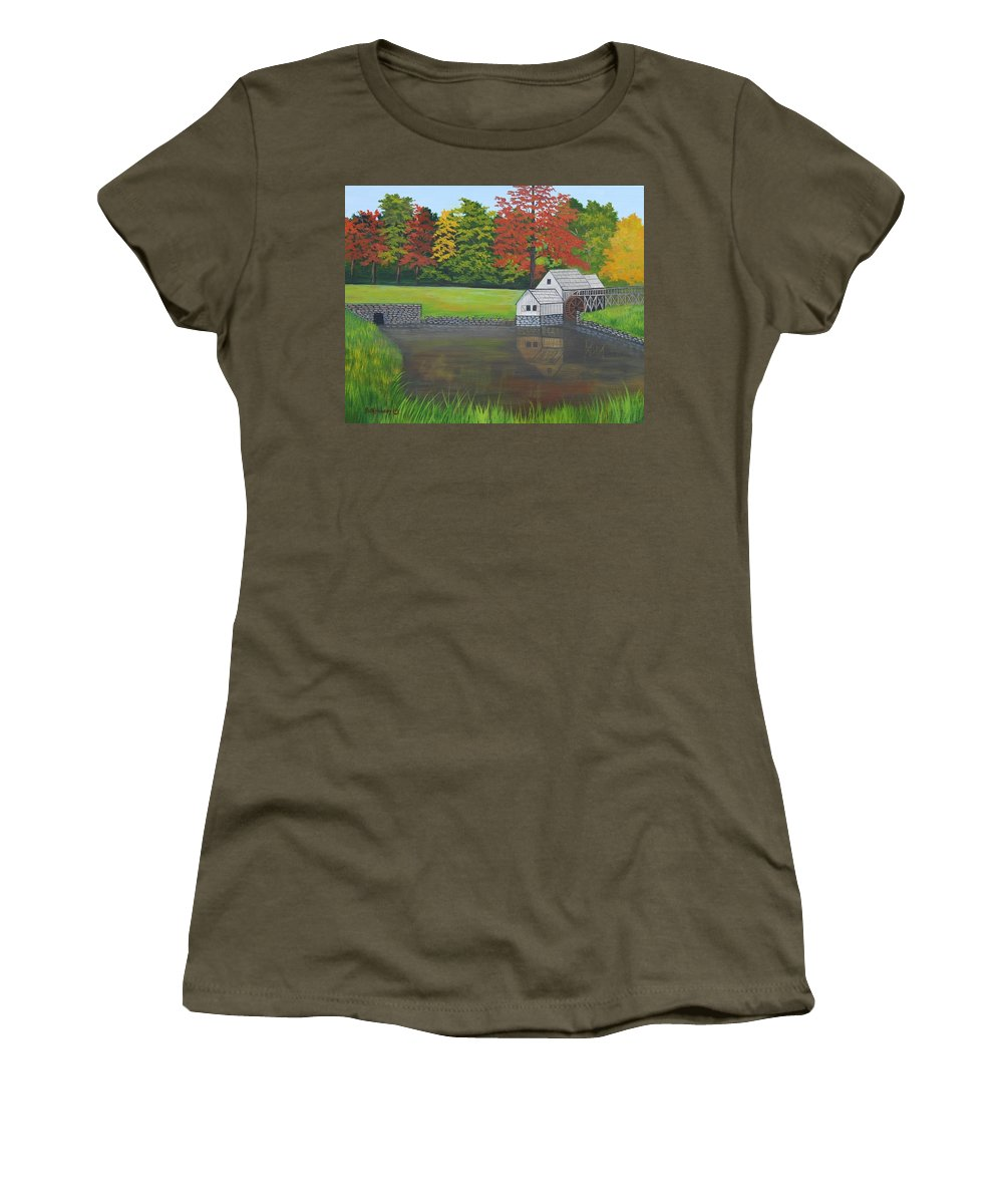 Landscape Women's T-Shirt (Athletic Fit) featuring the painting Mabry Grist Mill by Ruth Housley