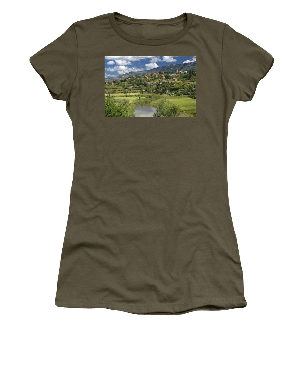 Madagascar Women's T-Shirt featuring the photograph Madagascar Village by Michele Burgess