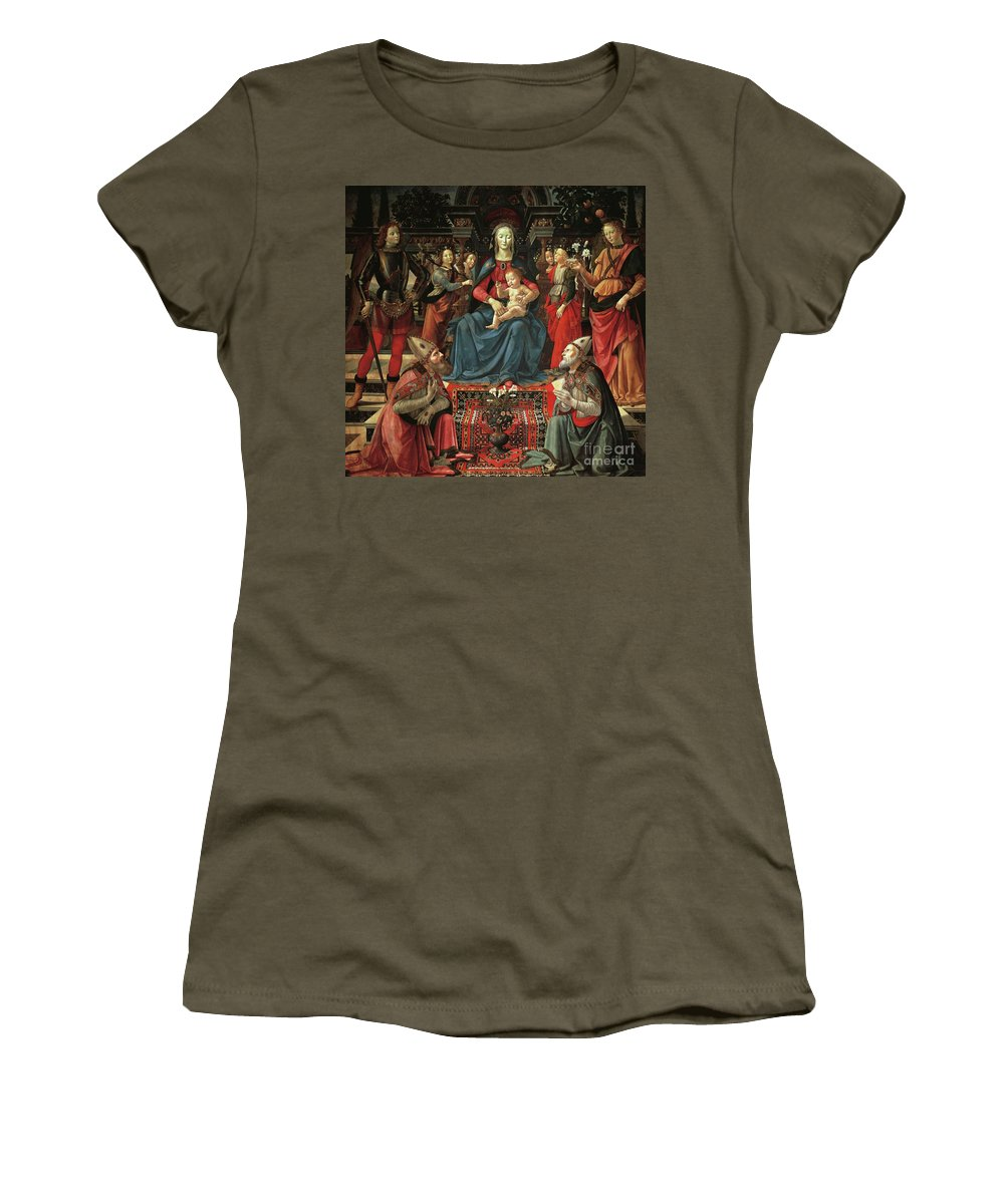 Ghirlandaio Women's T-Shirt featuring the painting Madonna And Child Enthroned With Saints by Domenico Ghirlandaio