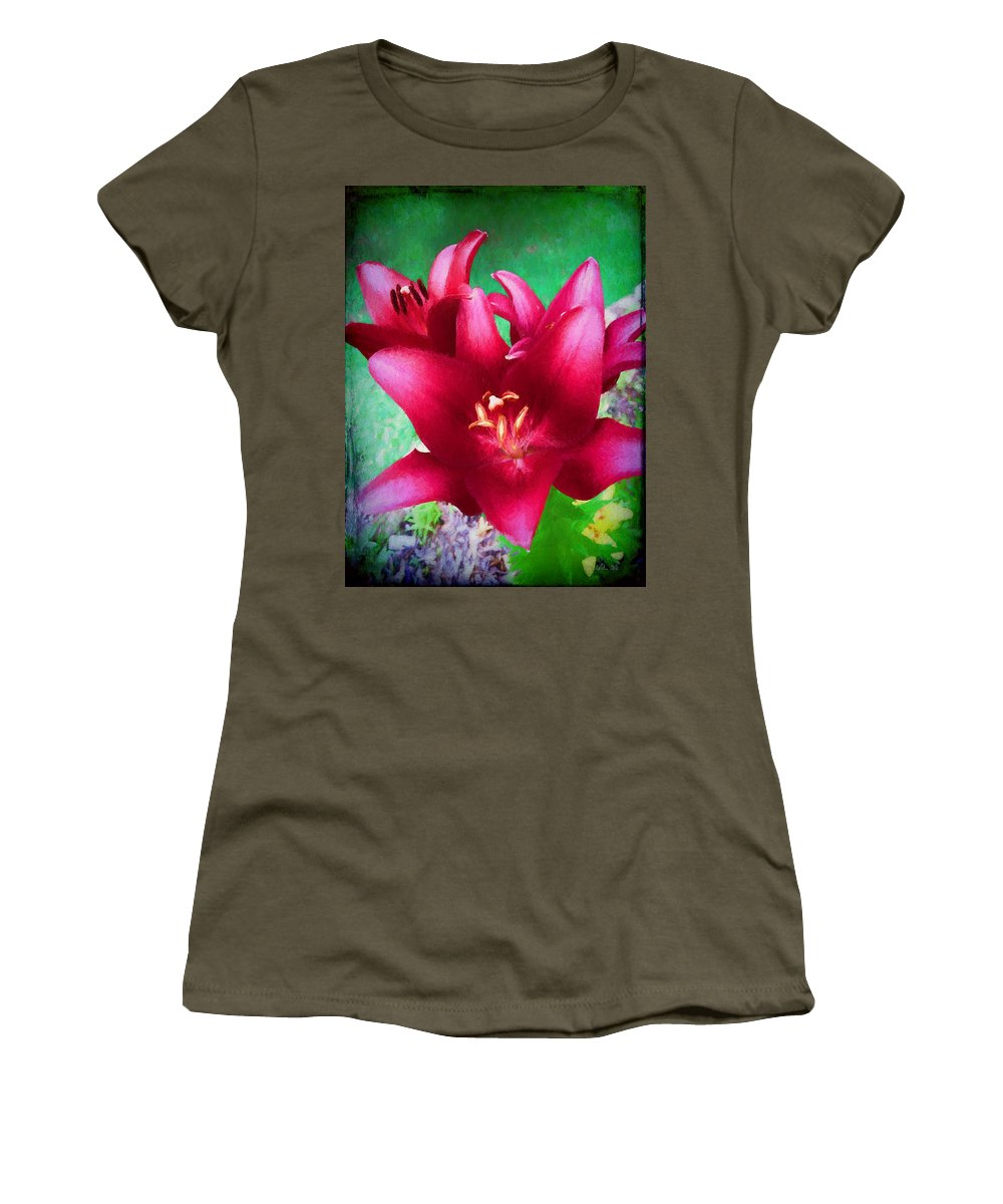 Floral Women's T-Shirt featuring the photograph Magenta Lilies by Marty Malliton