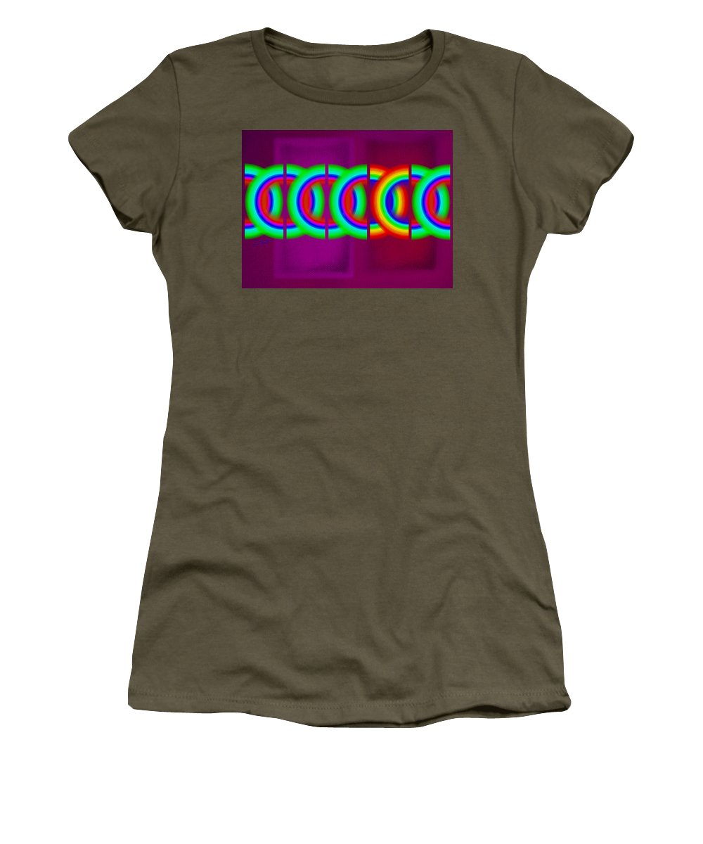 Abstract Women's T-Shirt featuring the painting Magenta Olympic Games by Charles Stuart