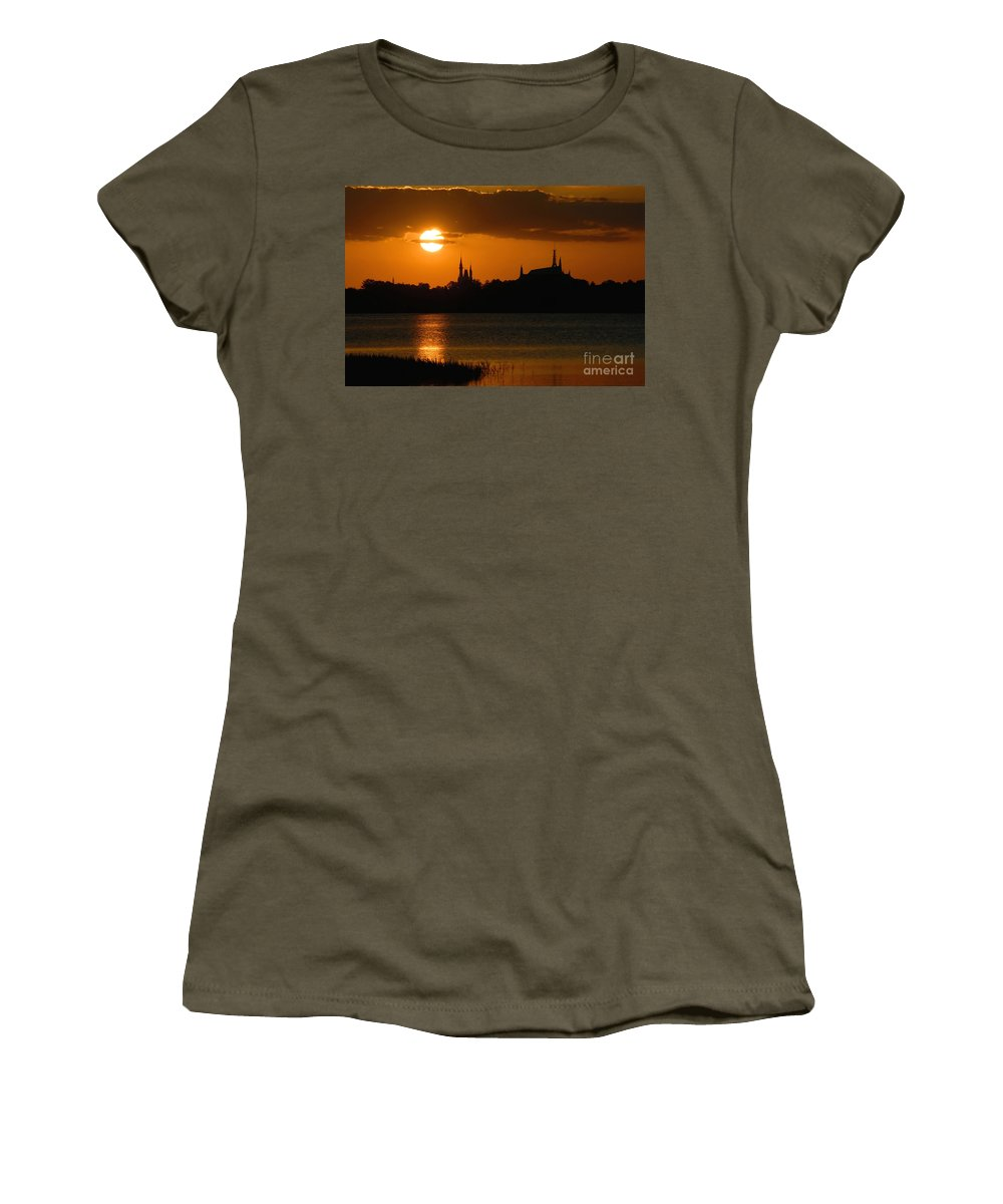 Disney World Women's T-Shirt (Athletic Fit) featuring the photograph Magic Kingdom Sunset by David Lee Thompson