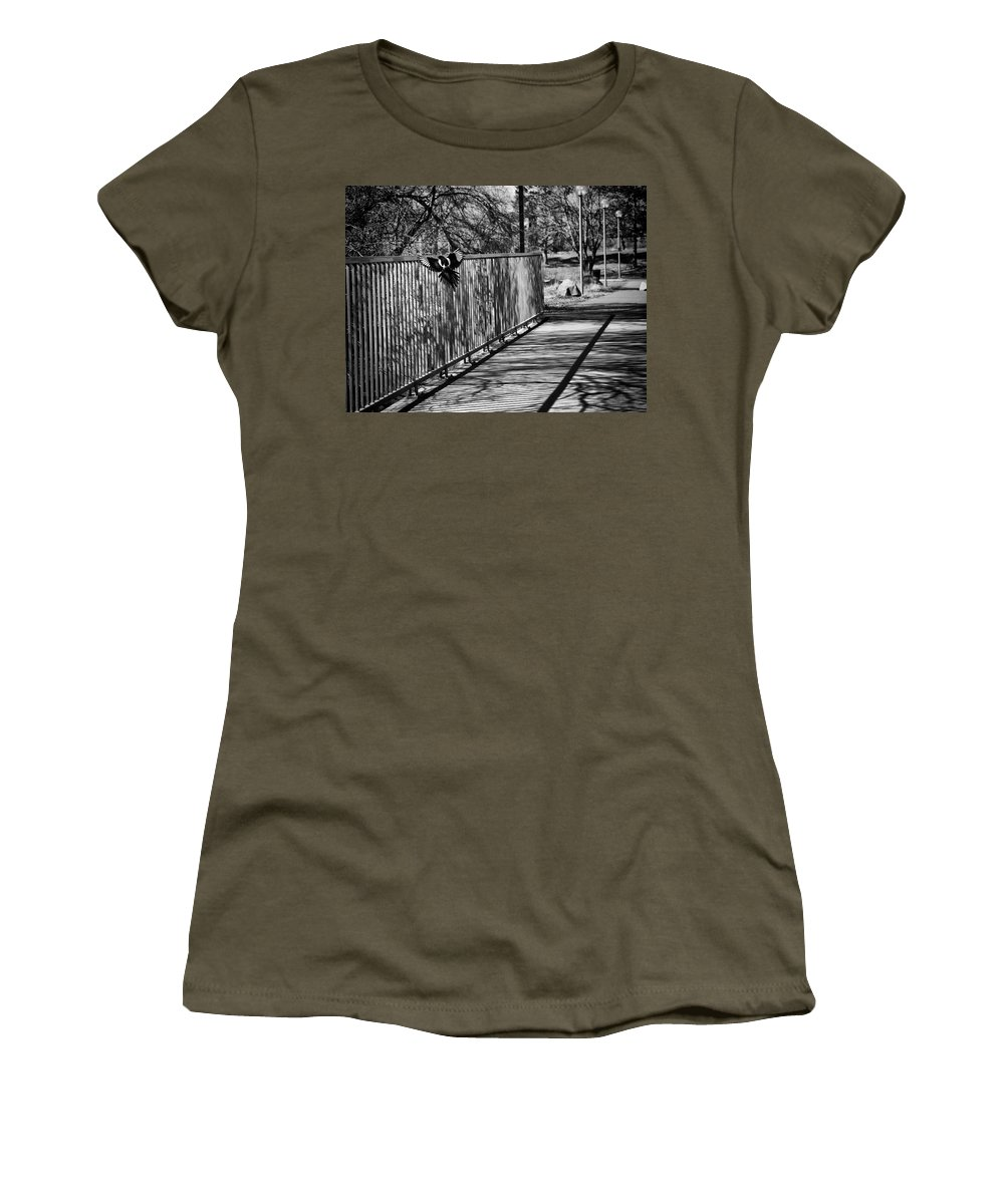 Magpie Women's T-Shirt (Athletic Fit) featuring the photograph Magpie - One For Sorrow by Theresa Tahara
