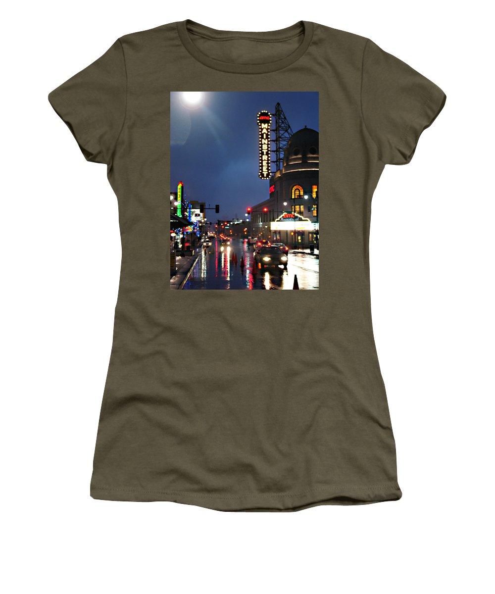 Landscape Women's T-Shirt (Athletic Fit) featuring the photograph Main Street Kansas City by Steve Karol