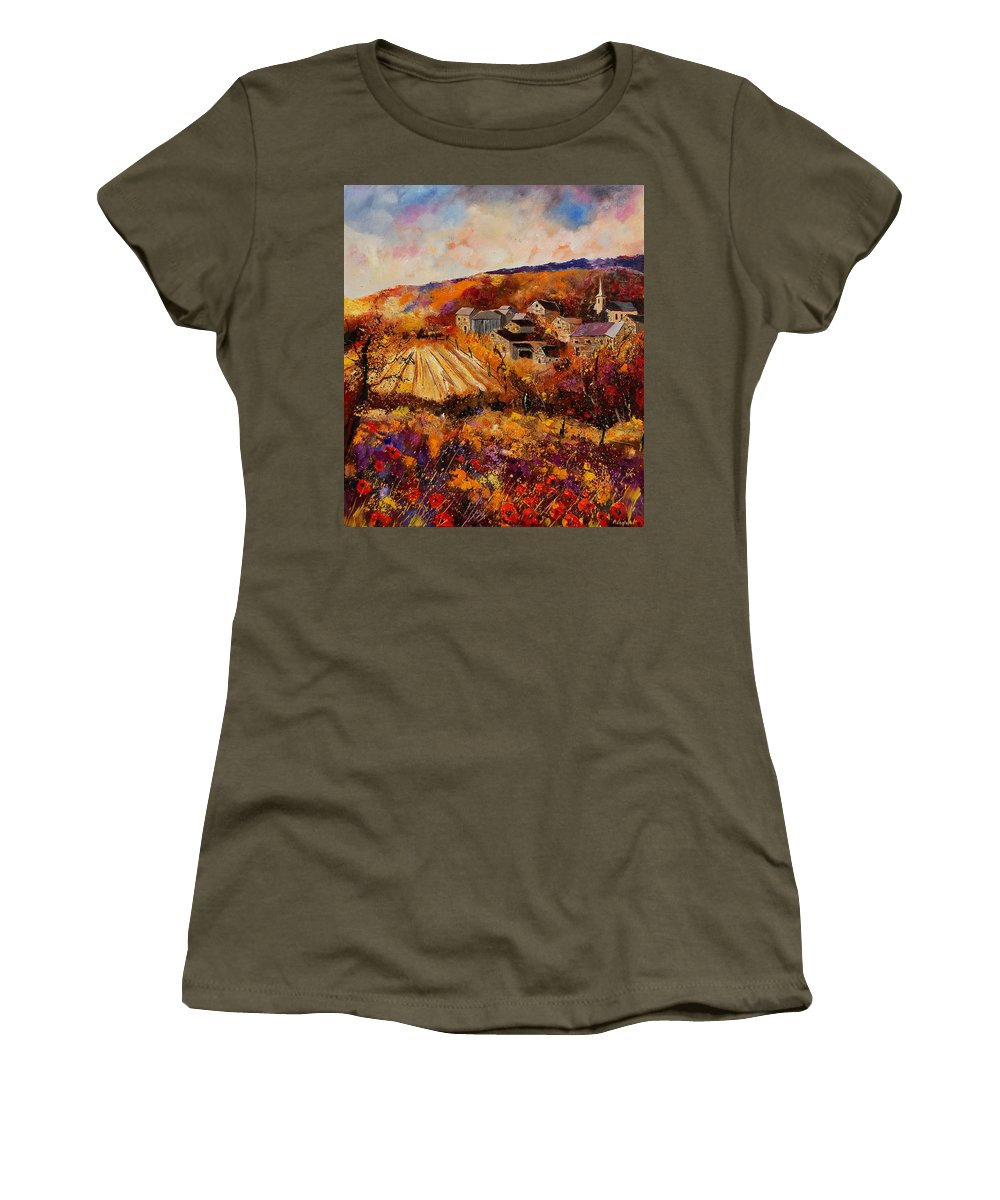 Poppies Women's T-Shirt featuring the painting Maissin by Pol Ledent