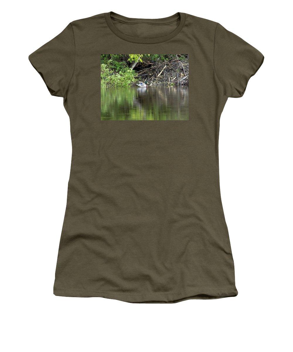 Mallard Women's T-Shirt featuring the photograph Mallard And Beaver Den by William Tasker
