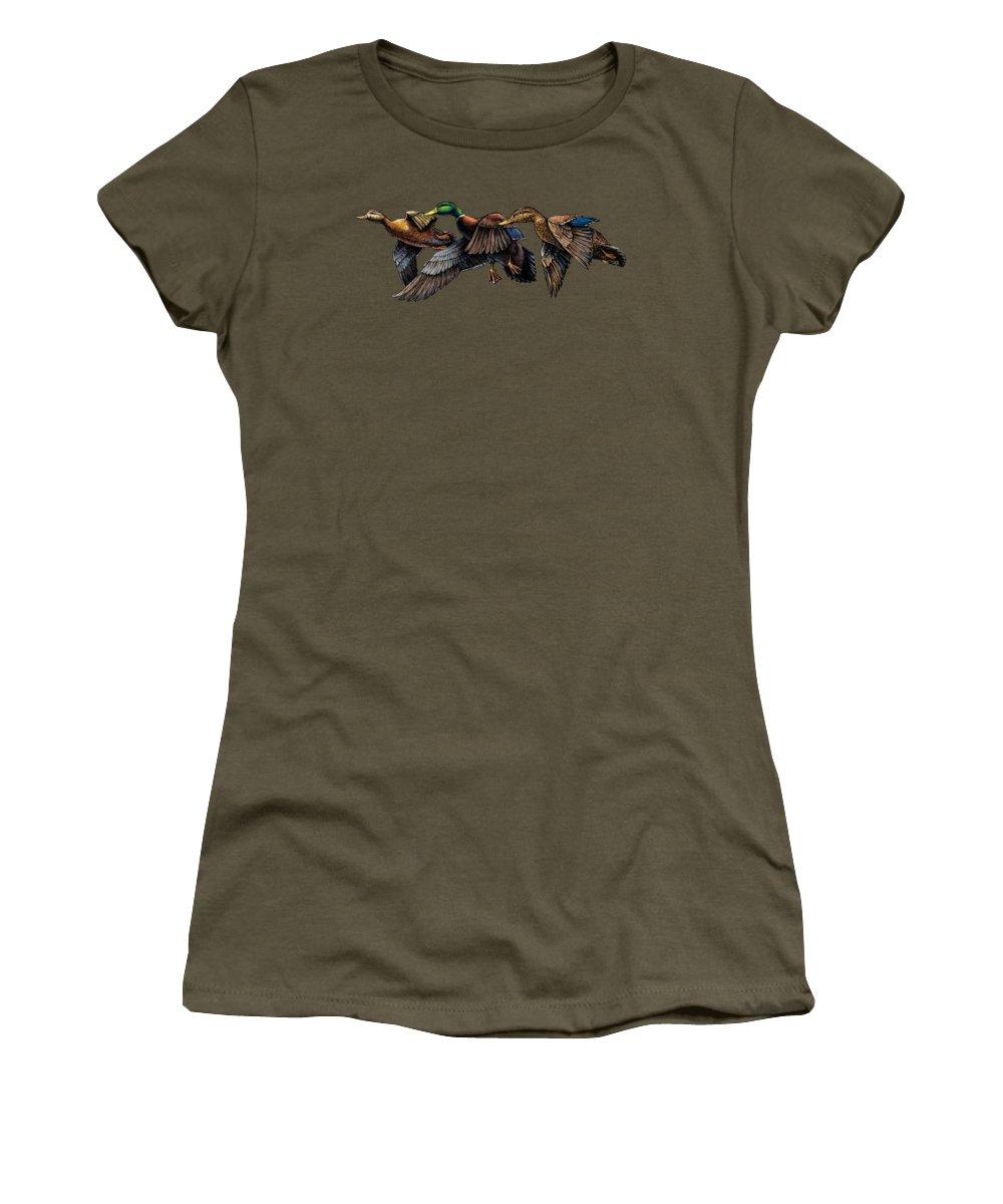 Audubon. Mallard. Mallards. Duck. Ducks. Mallard Ducks Women's T-Shirt featuring the painting Mallard Ducks In Flight by Rob Corsetti
