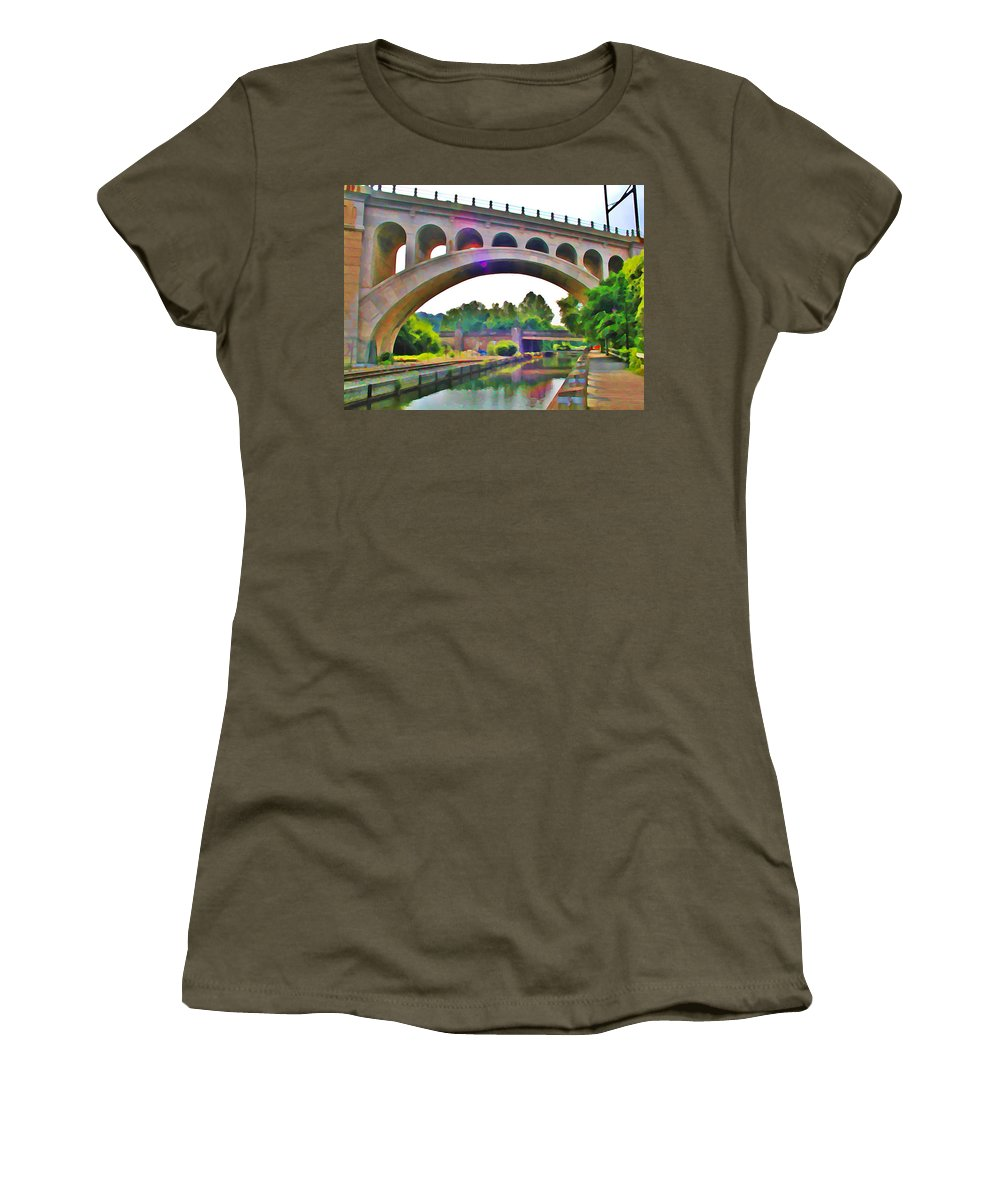 Philadelphia Women's T-Shirt (Athletic Fit) featuring the photograph Manayunk Canal by Bill Cannon