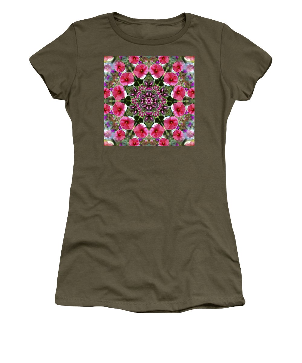 Mandala Women's T-Shirt (Athletic Fit) featuring the digital art Mandala Pink Patron by Nancy Griswold