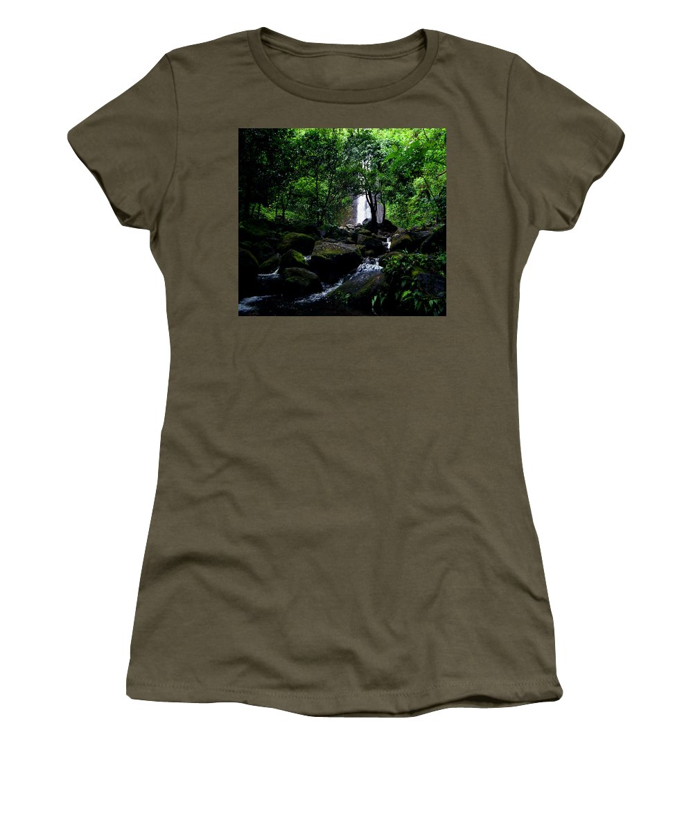 Hawaii Women's T-Shirt (Athletic Fit) featuring the photograph Manoa Falls Stream by Kevin Smith