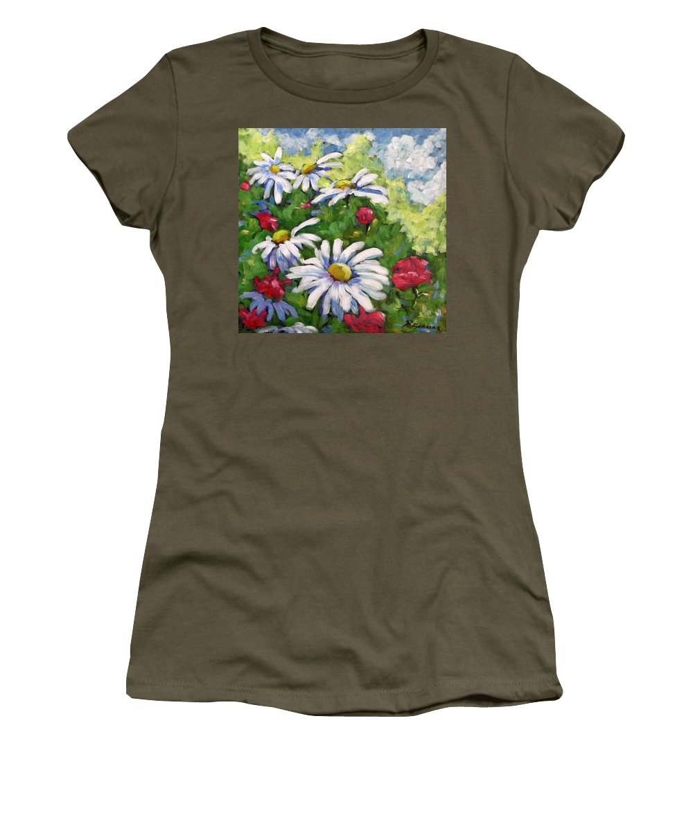 Daysy Women's T-Shirt featuring the painting Marguerites 002 by Richard T Pranke