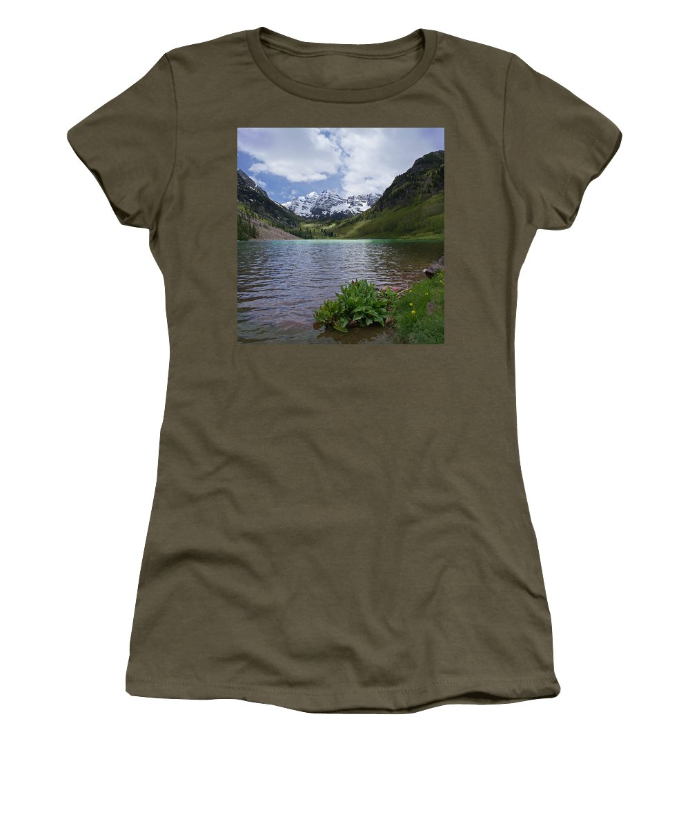 Aspen Women's T-Shirt featuring the photograph Maroon Bells Spring by Heather Coen