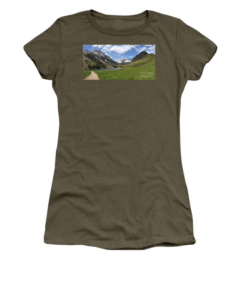 Maroon Bells Panorama Women's T-Shirt featuring the photograph Maroon Bells Trail Panorama by Adam Jewell