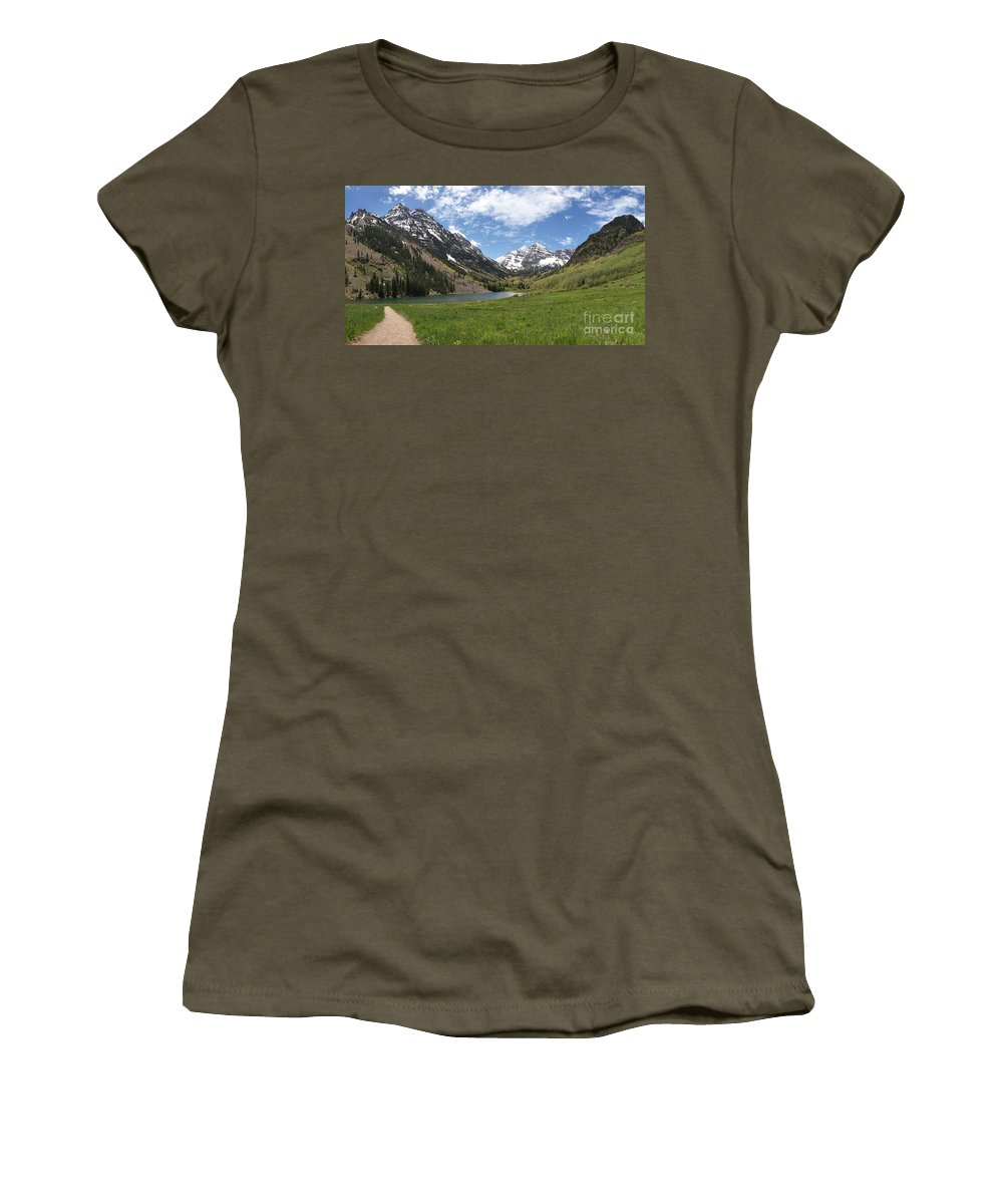 Maroon Bells Panorama Women's T-Shirt featuring the photograph Maroon Bells Wilderness Panorama by Adam Jewell