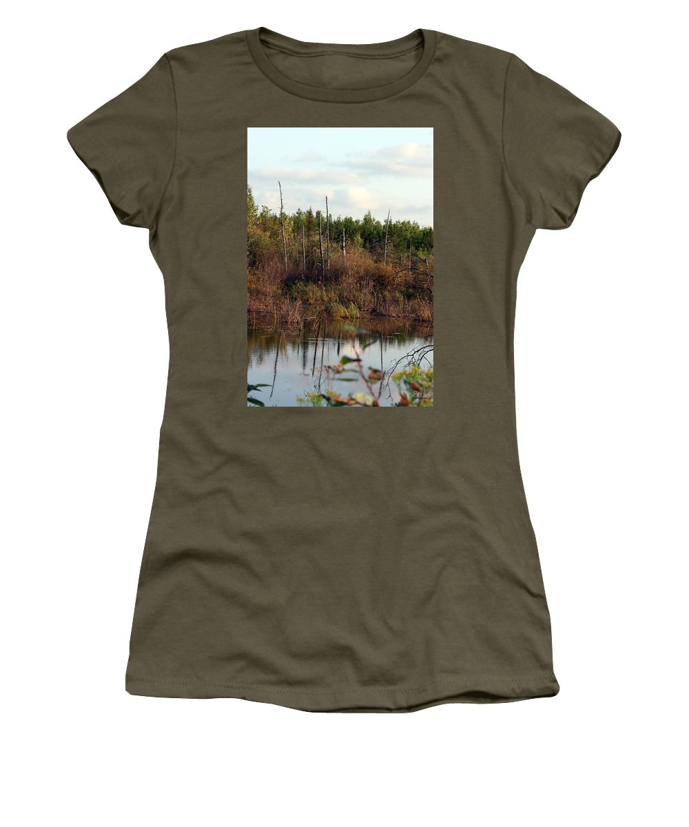 Marsh Lake Water Aquatic Wild Natural Mother Nature Pond Women's T-Shirt featuring the photograph Marsh by Andrea Lawrence