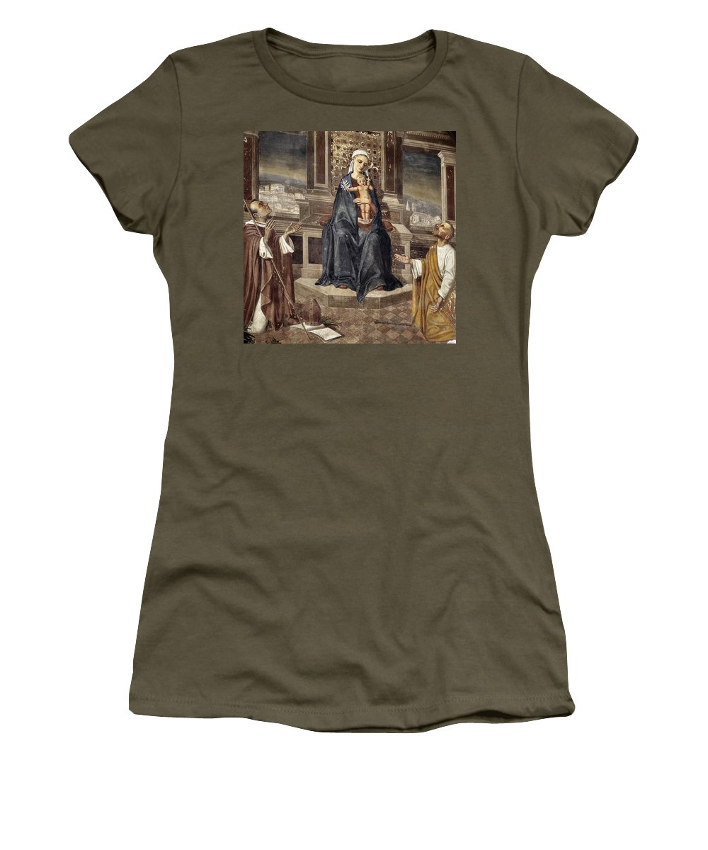 Italy Italian Mary Jesus Men Fresco Religious Religion Paint Painted Old Ancient Catholic Women's T-Shirt (Athletic Fit) featuring the photograph Mary And Baby Jesus by Marilyn Hunt