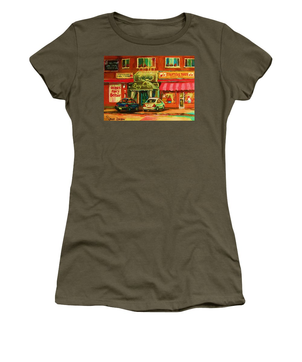 Mary Seltzer Dress Shop Women's T-Shirt (Athletic Fit) featuring the painting Mary Seltzer Dress Shop by Carole Spandau