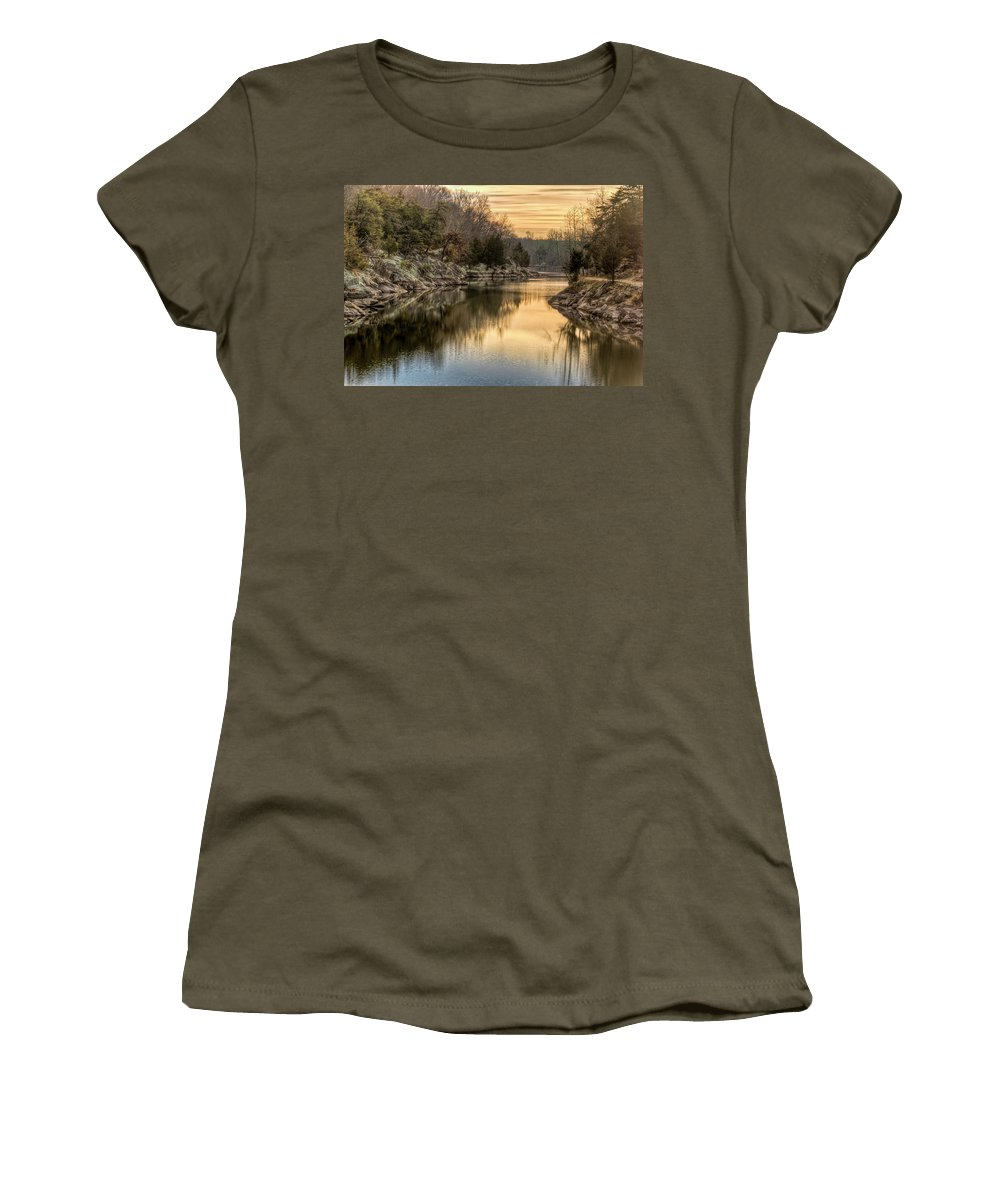 C&o Canal Women's T-Shirt featuring the photograph Maryland Canal Sunrise by Francis Sullivan