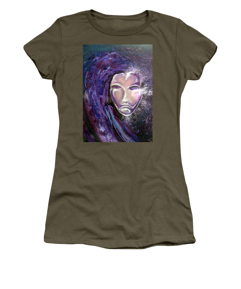 Mardi Gras Women's T-Shirt (Athletic Fit) featuring the painting Mask by Kevin Middleton