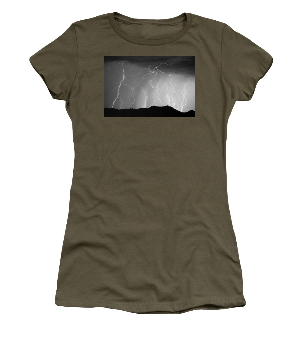 Lightning Women's T-Shirt featuring the photograph Massive Monsoon Lightning Storm Bw by James BO Insogna