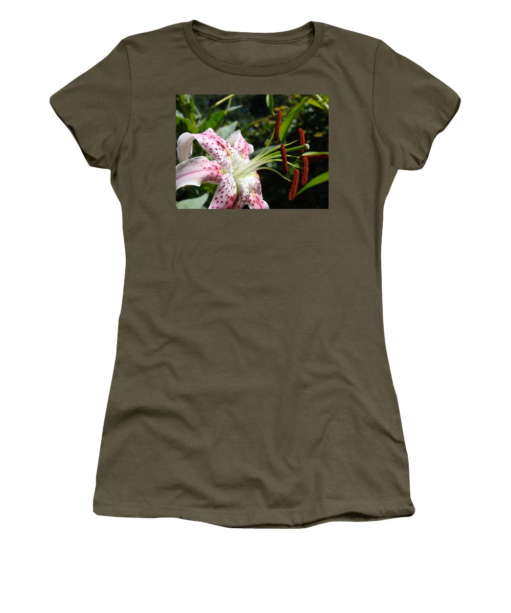 Lilies Women's T-Shirt featuring the photograph Master Gardeners Art Floral Pink Lily Flower Baslee Troutman by Baslee Troutman