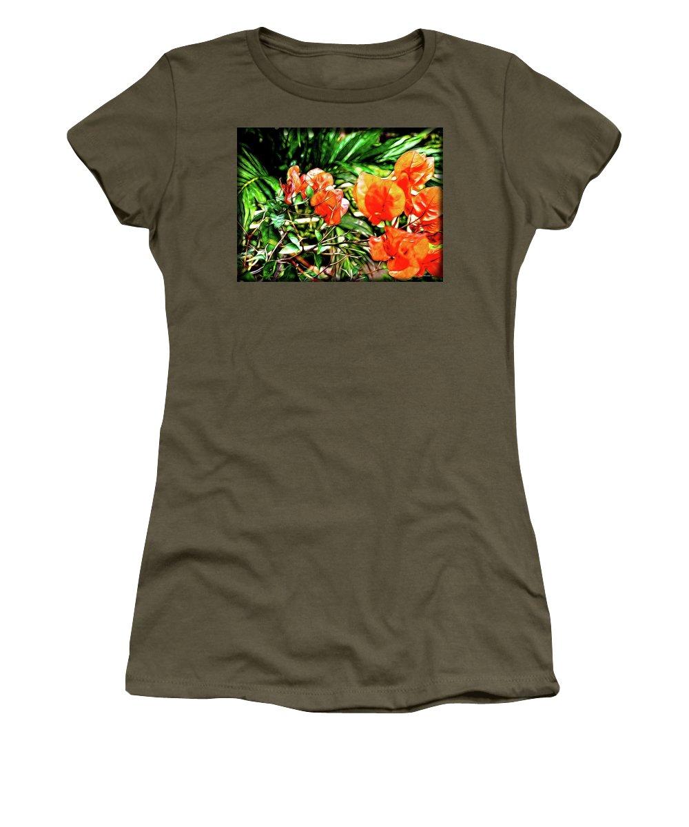 Botanical Women's T-Shirt featuring the digital art Maui Floral by Joan Minchak